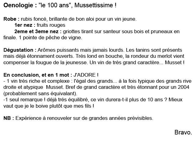 Commentaire de degustation d'un club oenologique pour chateau haute graves d'arthus cuvée 100 ans
