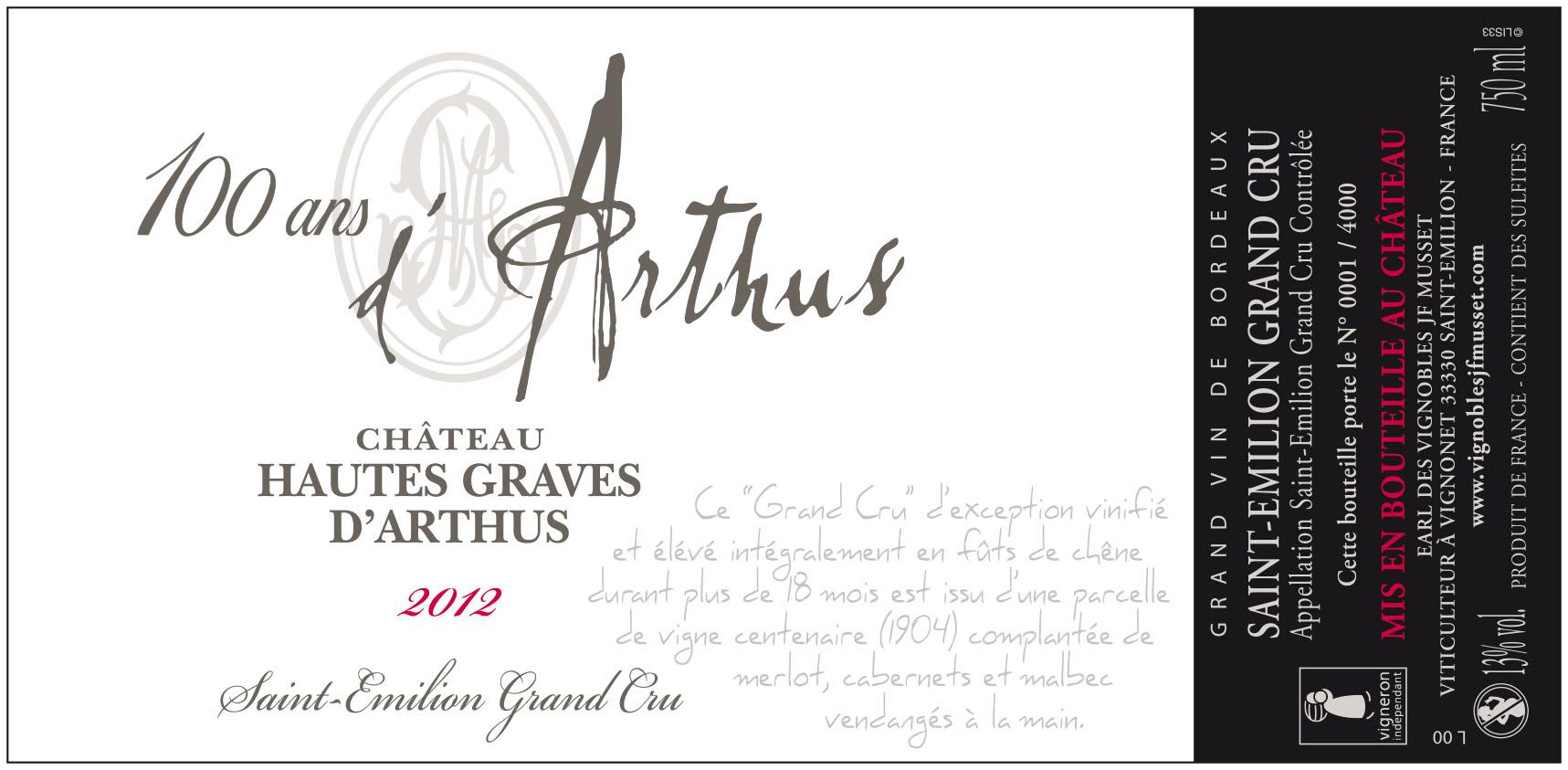 Etiquette HAUTES GRAVES D'ARTHUS CUVÉE 100 ANS